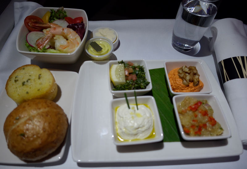 Cathay Pacific Business Class Review A330-Supper-Prawn Salad, Mezze Dips, Garlic Bread