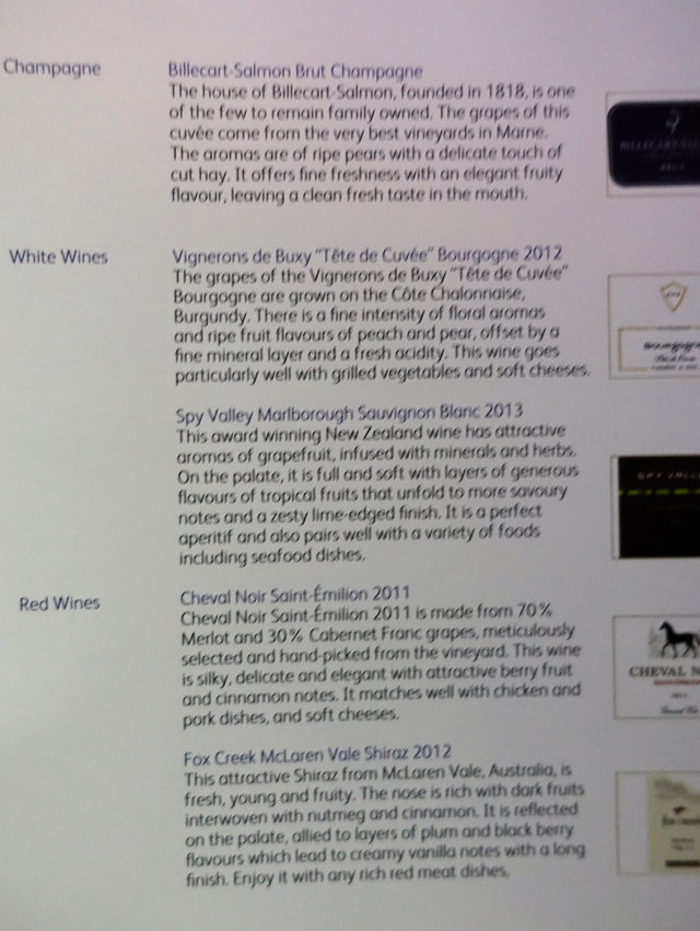 Cathay Pacific Business Class Champagne and Wine List