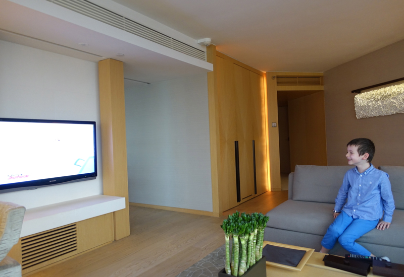 Review-The Upper House Hong Kong-Watching a Program on the Flat Screen TV