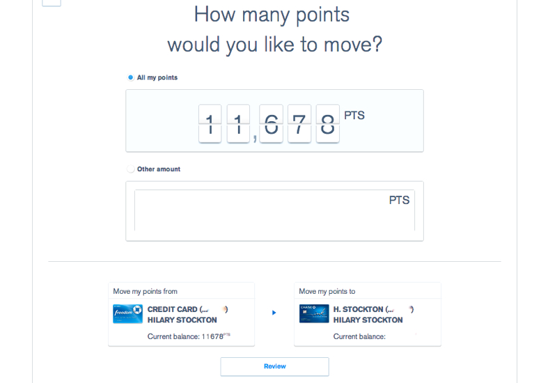 Combine Ultimate Rewards Points - Choose How Many Points to Move