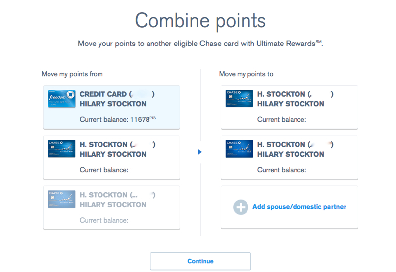 How to Combine Ultimate Rewards Points - Select Account You Want to Transfer Points to