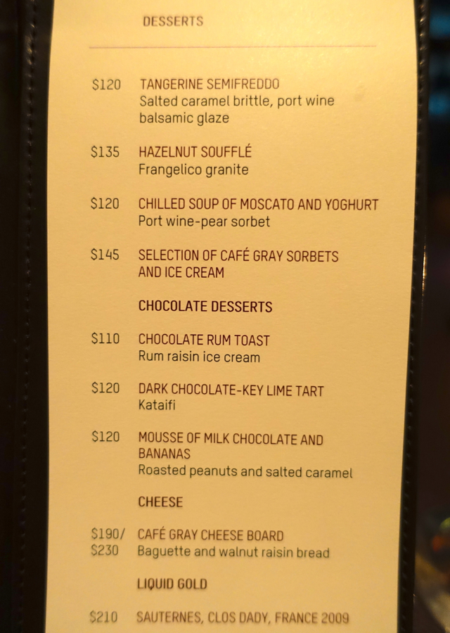 Cafe Gray Deluxe Menu