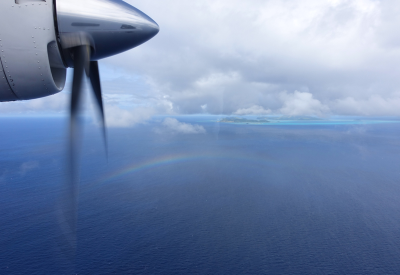 Rainbow on Island Aviation Flight to Amanpulo