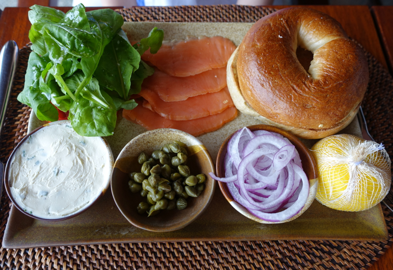 Bagel with Smoked Salmon, Amanpulo Breakfast