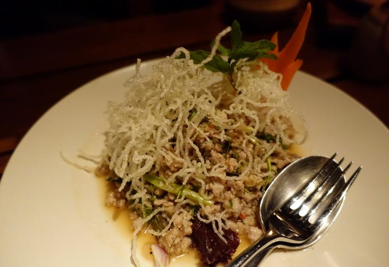 Laab Pork Salad, Lagoon Restaurant, Amanpulo