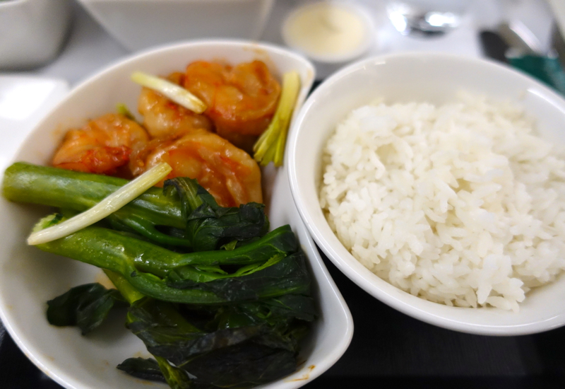 Wok Fried Prawns with Kailan and Rice, Cathay Pacific New Regional Business Class