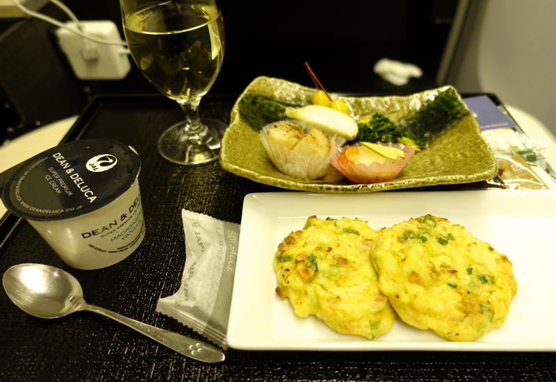 Okonomiyaki and Scallop Dish, JAL Business Class
