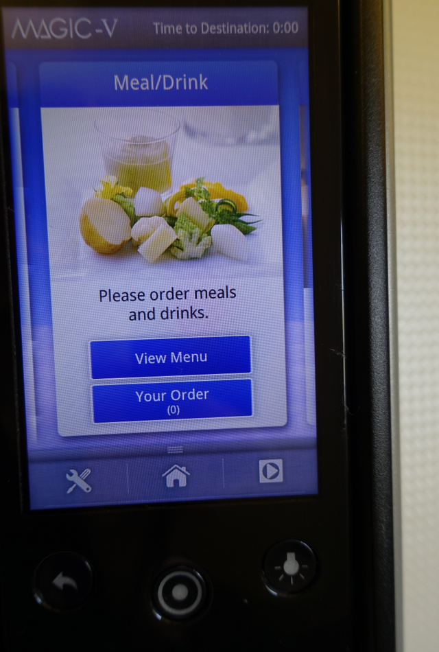 Touchscreen Meal/Drink Ordering, JAL Business Class