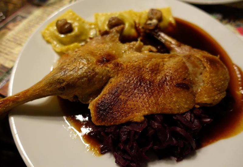 Roast Duck with Chestnut Ravioli