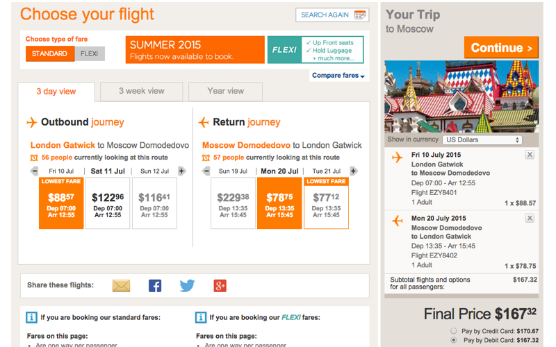 Moscow: easyJet Deals from London Gatwick to Moscow DME