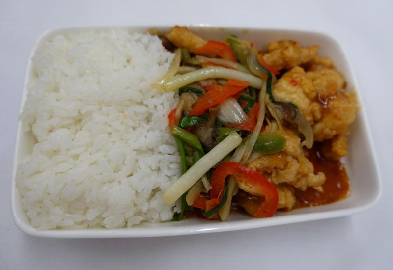 Asiana Business Class Review A330-Western Dinner-Deep Fried Chicken