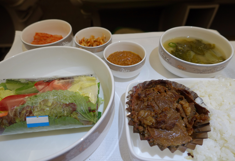 Asiana Business Class A330 Review-Korean Dinner of Ssambap with Bulgogi Beef