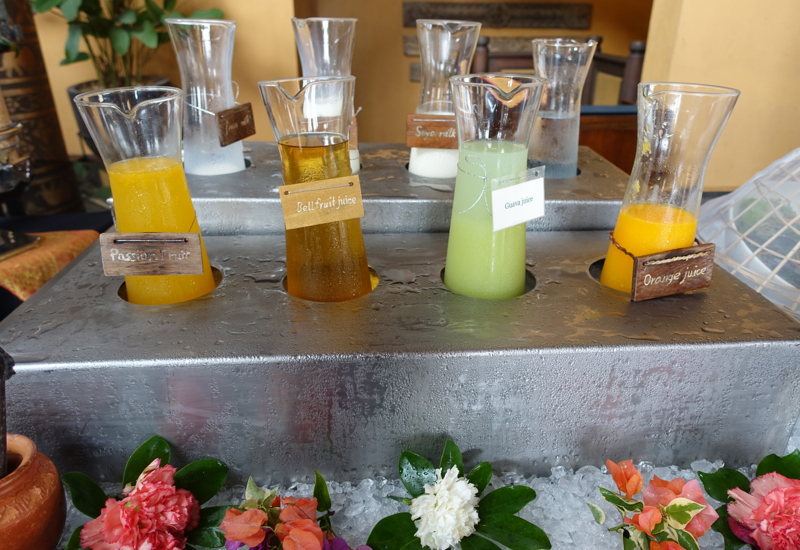 Fresh Squeezed Juices at Breakfast, Sala Mae Nam, Anantara Golden Triangle