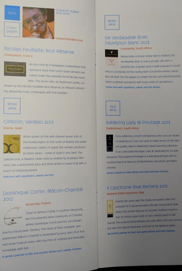 KLM Business Class Wine List