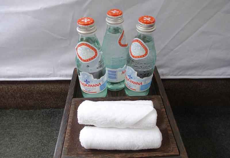 Amansara Siem Reap Review-Aqua Panna and Refreshing Towels