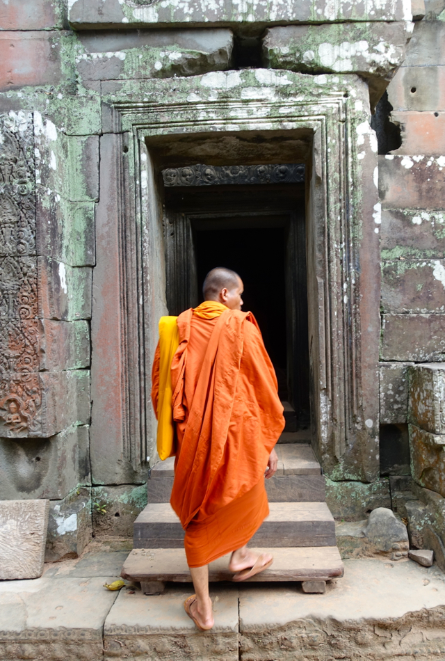 Buddhist Monk Visiting Angkor Temple Ta Prohm