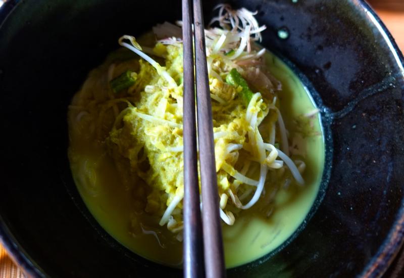Nom Ben Chok Green Curry Noodle Soup, Khmer Village House
