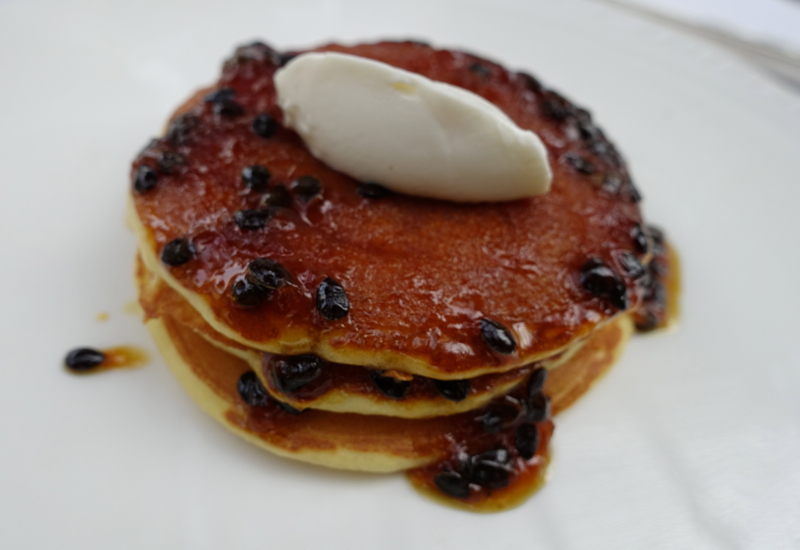 Pancakes with Passionfruit Caramel, Breakfast at Amansara