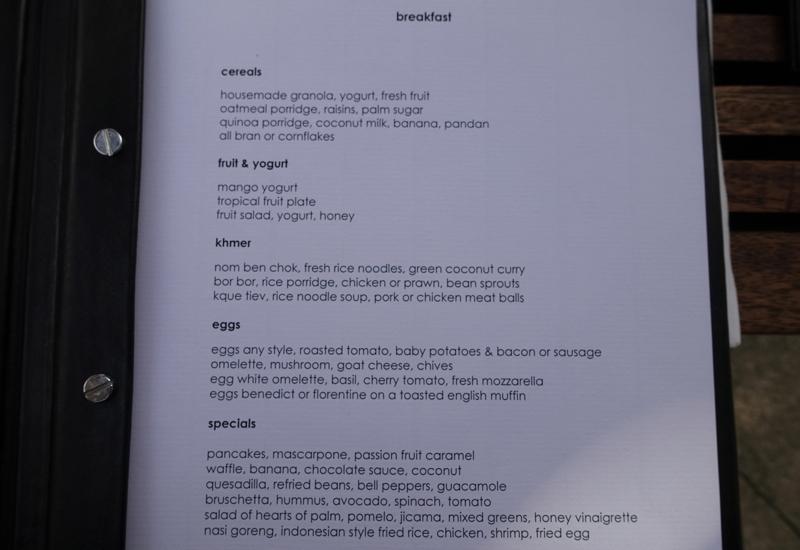 Amansara Breakfast Menu