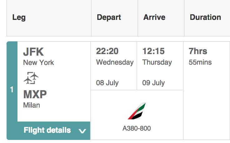 Emirates A380 on the NYC JFK to Milan MXP Route Starts June 1, 2015