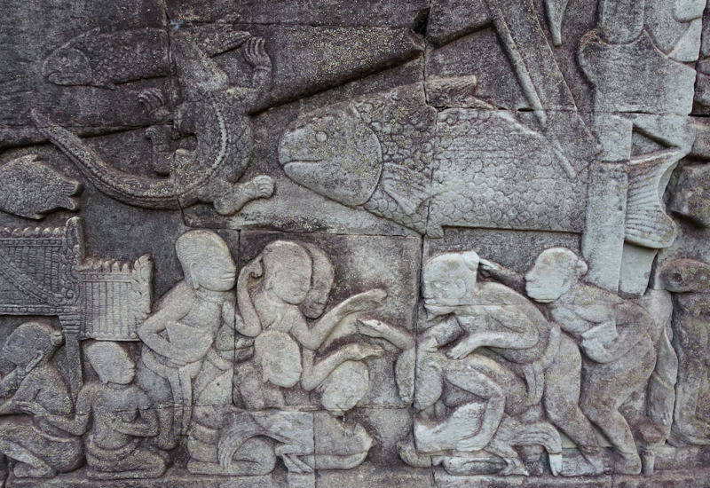 Cock Fighting Scene Depicted in Bayon Bas Relief Carvings