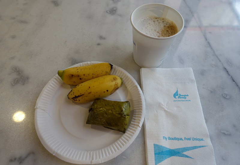 Bangkok Airways Review - Airport Lounge-Cappuccino and Snack