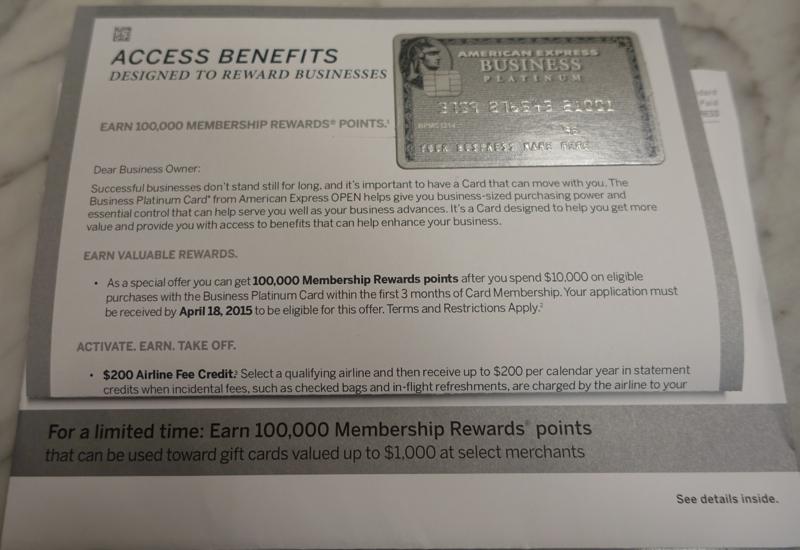 100K AMEX Business Platinum Bonus Offer