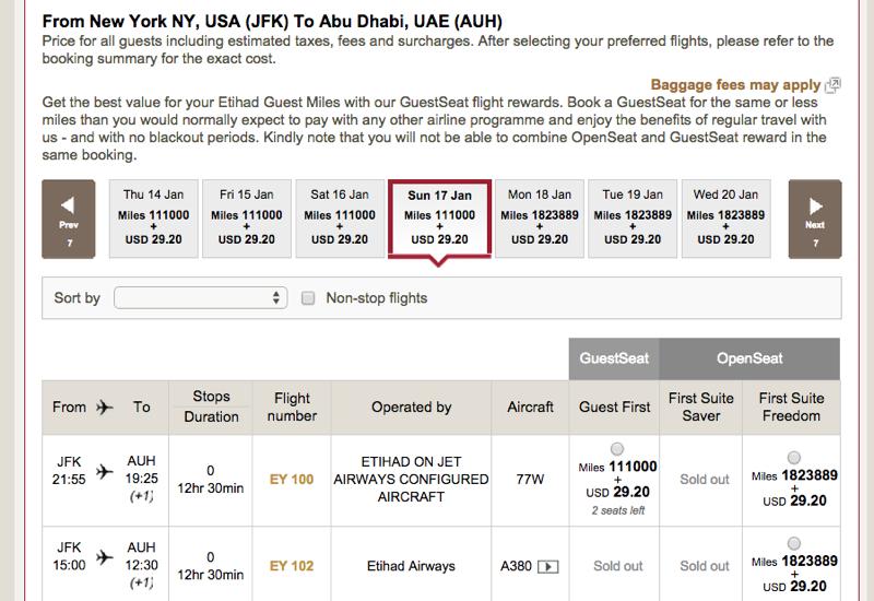 No Etihad First Apartment Award Space Yet NYC to Abu Dhabi
