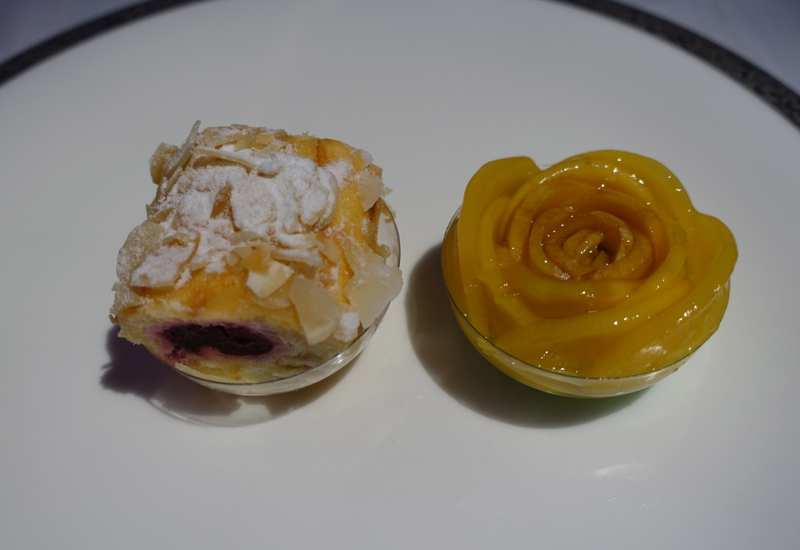 Thai First Class Dessert: Sour Cherry Roulade and Mango Sticky Rice