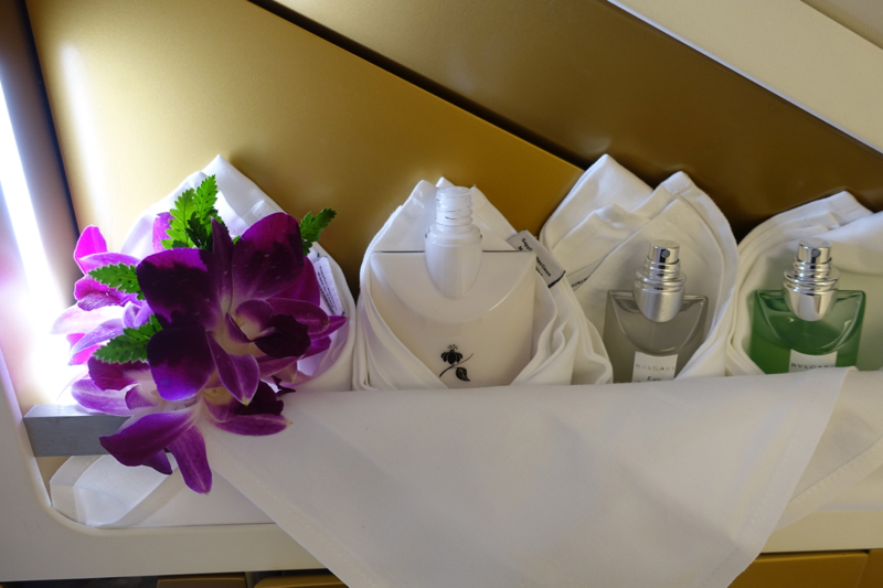 Thai A380 First Class Bathroom: Orchids and Bulgari Moisturizer, Eau de Toilette