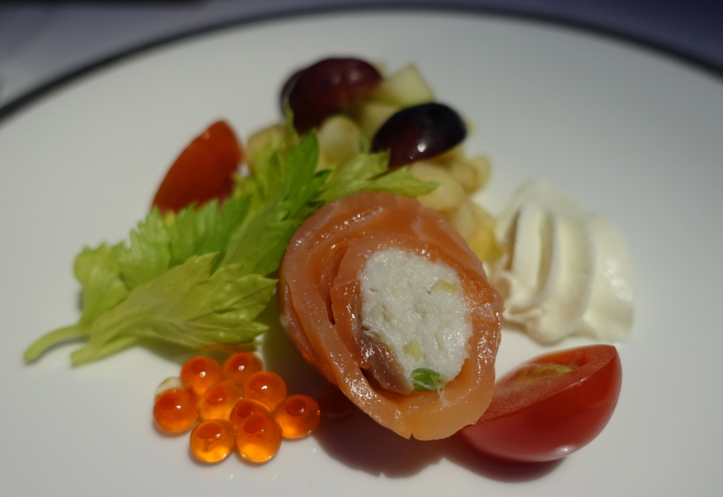 Thai Airways A380 First Class-Smoked Salmon Appetizer