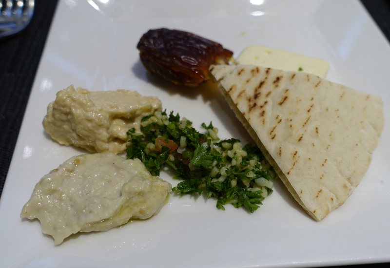 Hummus, Baba Ganoush and Tabouli, Etihad Lounge IAD