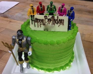 Special Birthday Cake for Kid Who Loves Green and Power Rangers