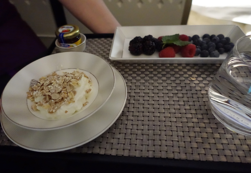 Etihad First Class Breakfast: Yogurt and Fresh Berries