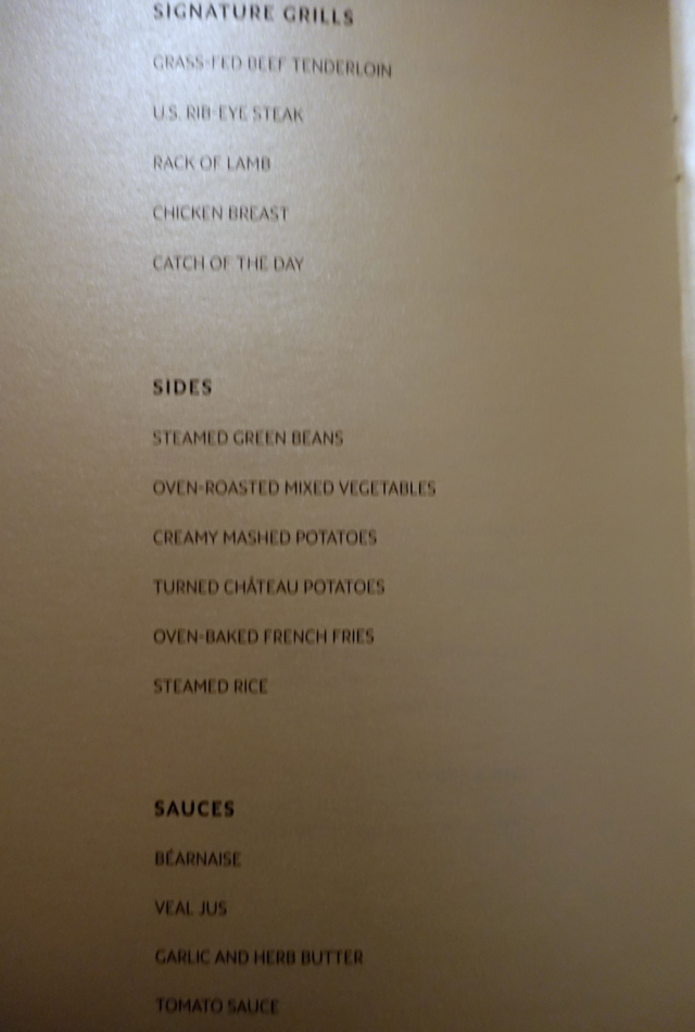Etihad First Class Menu - Steaks and Side Dishes