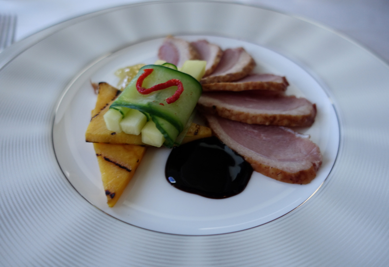 Etihad First Class Review - Smoked Duck Breast with Spicy Fig Mustard