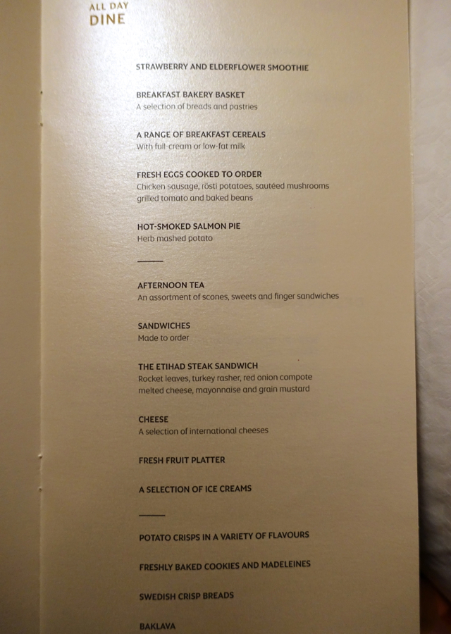 Etihad First Class Menu - All Day Dining