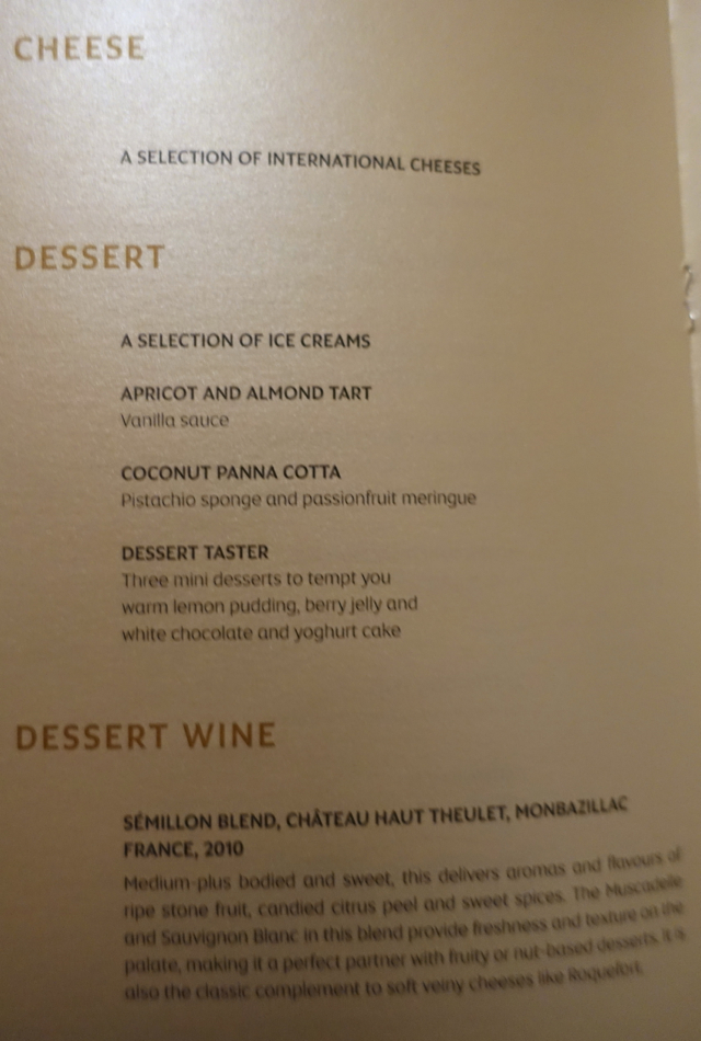 Etihad First Class Menu - Cheese and Desserts