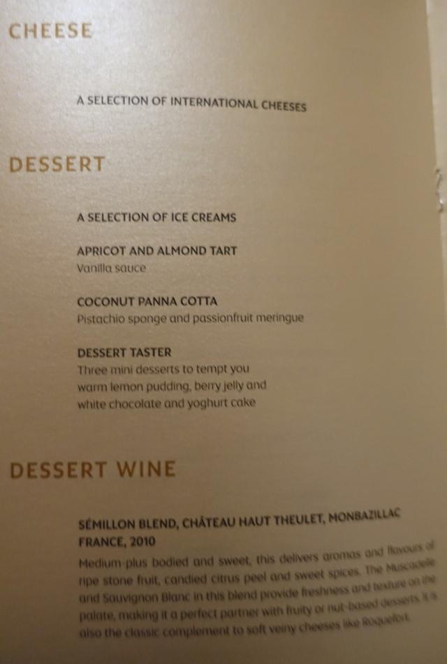 Etihad First Class Menu - Cheese and Desserts