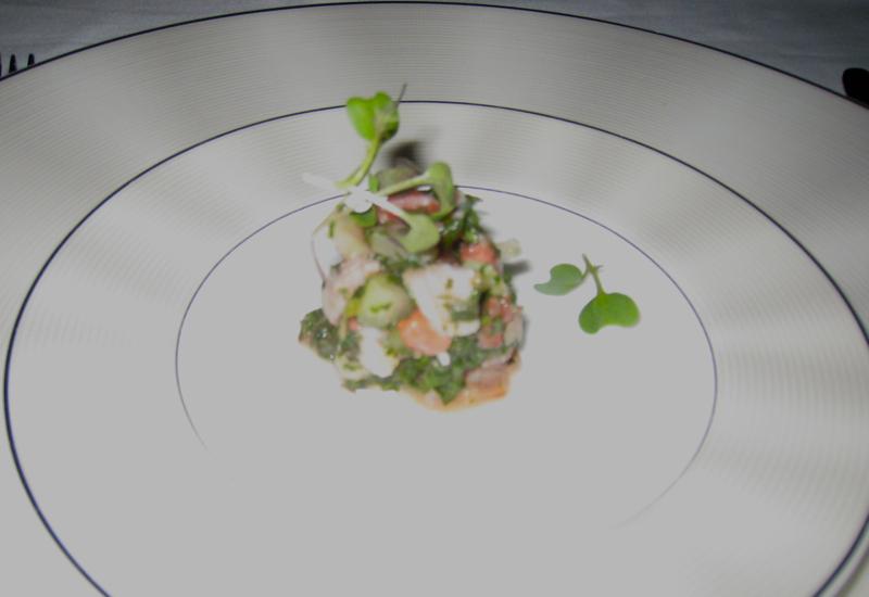 Seafood Salad Amuse Bouche, Etihad First Class 777-300ER