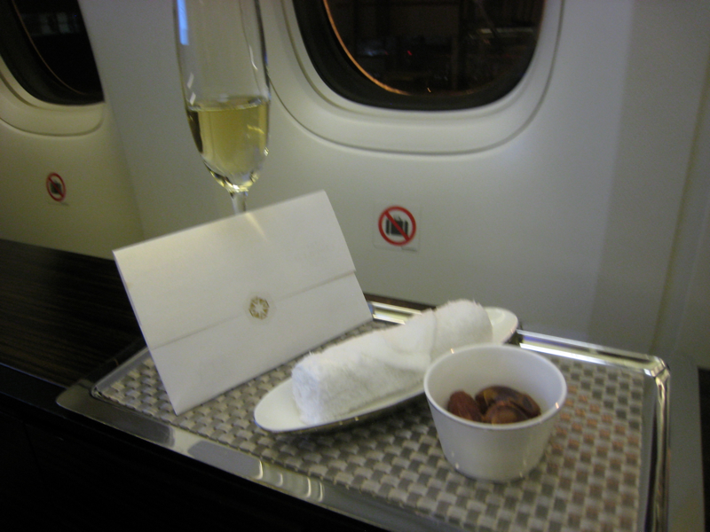 Review-Etihad First Class 777-300ER-Champagne, Refreshing Towel and Dates