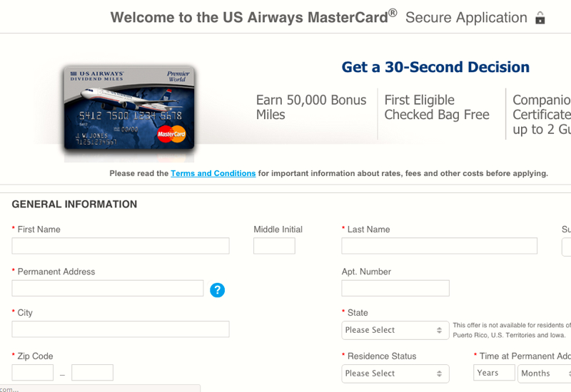 Us airways mastercard deals