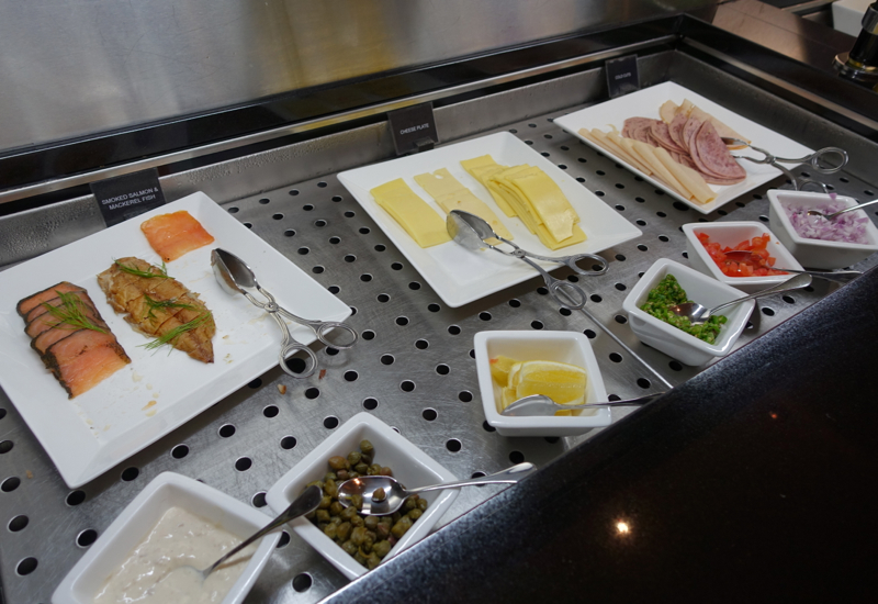 Review-Etihad Business Class Lounge Abu Dhabi Terminal 1-Smoked Salmon Cheeses Breakfast Meats
