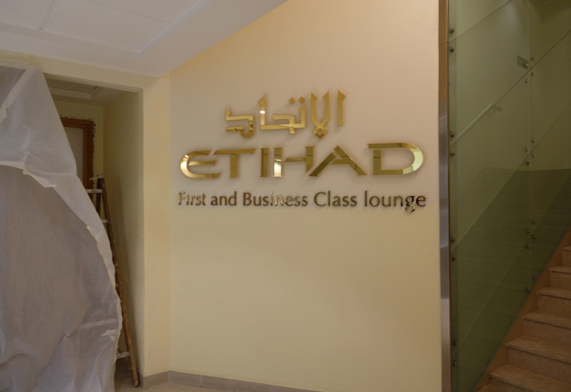Review: Etihad First and Business Class Lounge Abu Dhabi Terminal 1 Sign