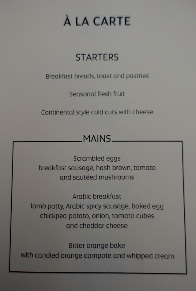 Etihad Business Class Menu-Breakfast