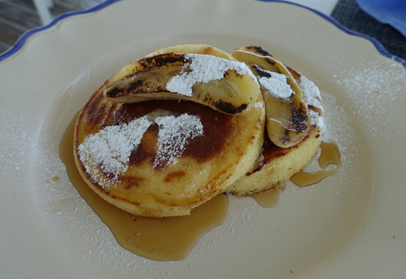 Banana Pancakes for Breakfast, Blu Restaurant, Four Seasons Landaa Giraavaru