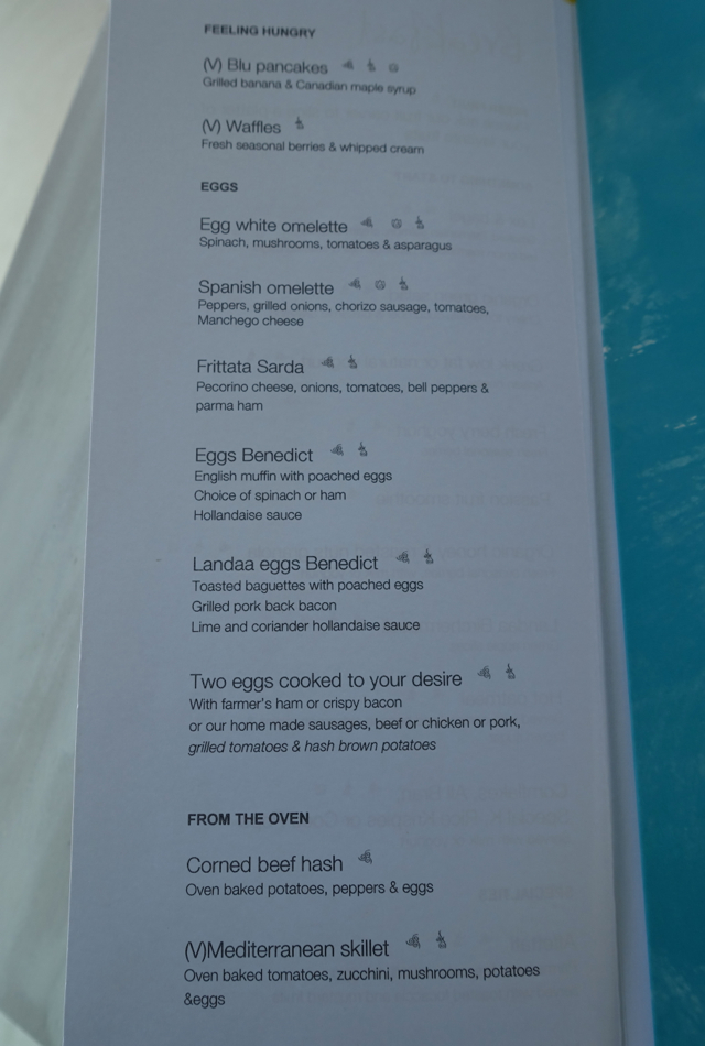 Blu Breakfast Menu, Four Seasons Maldives at Landaa Giraavaru