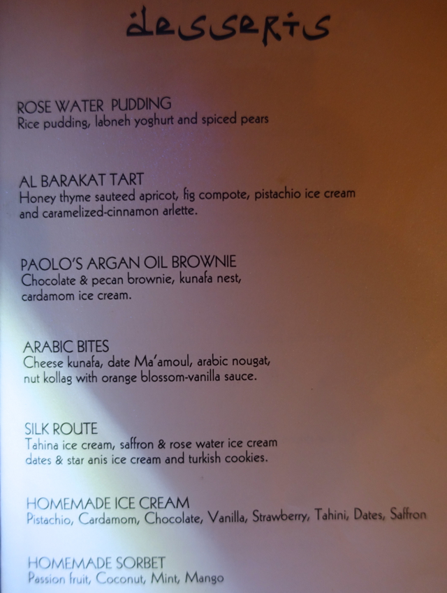 Al Barakat Dessert Menu, Four Seasons Maldives at Landaa Giraavaru