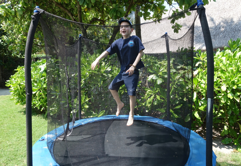 Kids Club at Four Seasons Landaa Giraavaru: Fun on the Trampoline