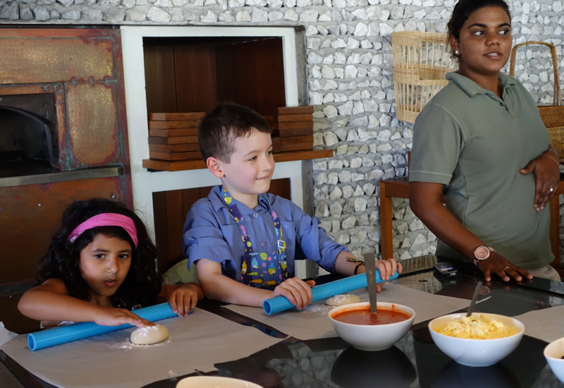Fun Making Pizza at Four Seasons Maldives at Landaa Giraavaru